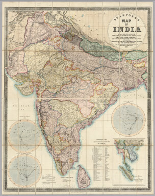 Stanford's Map Of India. Based On The Surveys Executed By Order Of The Honourable The East India Company, Special Maps Of The Surveyor General And Other Authorities, Showing The Latest Territorial Acquisitions And The Independent And Protected States, Railways, Canals, &c. 1859. London: Edward Stanford, 6, Charing Cross. Drawn & Engraved by J. & C. Walker. (inset) The Malay Peninsula &c. Showing The British Possessions Beyond The Ganges. (with 3 additional inset maps).
