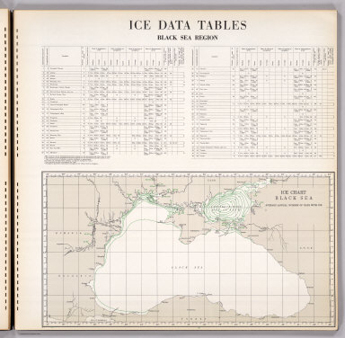 (Text Page) Ice Data Tables. Map: Ice Chart Black Sea, Average Days.