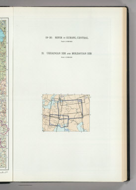(Map Title Page) 19-20. RSFSR (Russian Soviet Federated Socialist Republic) in Europe, Central. 21. Ukrainian SSR, Modavian SSR.