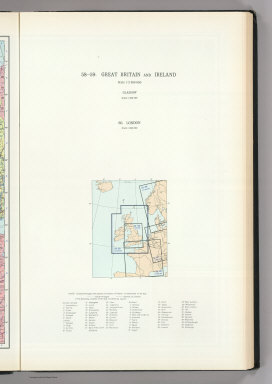(Map Title Page) 58-59. Great Britain and Ireland. 60. London.