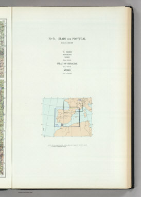 (Map Title Page) 70-71. Spain and Portugal. 72. Madrid, Barselona, Lisbon, Gibraltar, Azores.
