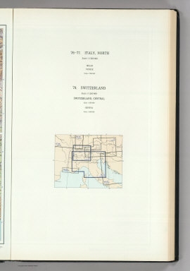 (Map Title Page) 76-77. Italy, North. 78. Switzerland. Geneva.