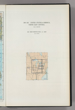 (Map Title Page) 200-201. United States of America, North East Central. 202. West Pennsylvania and Ohio.