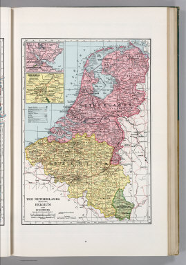 The Netherlands (Holland) Belgium and Luxemburg. 1132. (inset) Amsterdam and Vicinity. (inset) Brussels (Bruxelles) and Vicinity.