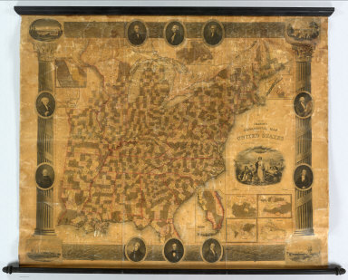 Chapin's Ornamental Map Of The United States With Plans Of The World, British Possessions, West Indies & Columbia. New York, Published by W. Chapin & J.B. Taylor. 1846. Entered ... 1838 by W. Chapin & J.B. Taylor ... New York. Sold by T. & E.H. Ensign, No. 36 Ann St. N. York. Geographical Part Engraved By J.B. Taylor & H.F. Wheeler. Printed by Wm. Neale, N.Y. (above title) Steel Plates. (title engraving) Chapin del. Prudhomme sc. (portraits) Drawn & Engraved by Story & Atwood, N. York ... Painted by G. Stuart ... A. Dick sc. ... W.D. Smith sc. ... J.F.E. Prudhomme sc. Osborne sc. (with 9 inset maps).