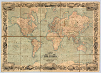 Johnson's Illustrated & Embellished Steel Plate Map of The World On Mercator's Projection, Compiled from the latest & most Authentic Sources Exhibiting the recent Arctic and Antarctic Discoveries & Explorations. Engraved & Published By D.Griffing Johnson, 80 Nassau St. New York. 1847. Entered ... 1846 by D. Griffing Johnson ... New York