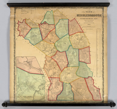 Map of the Town of Middleborough, Plymouth County, Mass. Surveyed by order of the Town by H.F. Walling. Superintendent of the State Map. 1855. Ferd. Mayer & Co. Lith. 96 Fulton St. N.Y. (inset) Namasket Village. Four Corners.