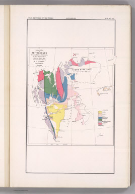 Coal Resources of the World. Spitzbergen (Norway). Map No. 48. Geological Map of Spitzbergen from the Maps of Nordenskiold, De Geer, Tschernyschew, Backlund, Bruce, Hoel, and personal observations by A.G. Nathorst.