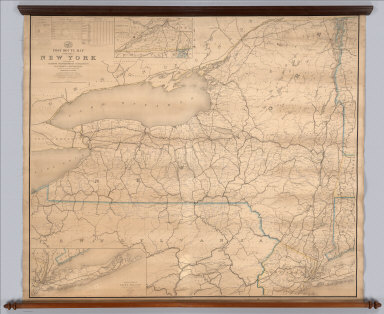 """Post Route Map Of The State Of New York And Parts Of Vermont, Massachusetts, Connecticut, New Jersey And Pennsylvania, Showing Also The Adjacent Portions Of The Dominion Of Canada. Designed And Constructed Under The Orders Of Postmaster General Alex. W. Randall And Second Asst. Postmaster General Geo. Wm. McLellan By W.L. Nicholson, Topographer Of P.O. Dept. 1868. Drawn by Paul Goepel. Engraved by D. McClelland, Washn. D.C. (seal) Post Office Department United States Of America """"With Celerity, Certainty And Security."""" (inset) Prov. Of Ontario. (inset) Postal Service Of Long Island With The Principal Mail Connections Of The City Of New York."""