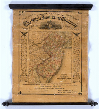 Colton's Map of New Jersey. Prepared for the State Insurance Company, Office No.9 Exchange Place, Jersey City. Entered ... 1855 by J.H. Colton & Co. ... New York. C.O. Jones 76 Cedar St. N.Y. (advertisement above map) The State Insurance Company. Stock Company. Charter Perpetual. Office Jersey City, 9 Exchange Place ...
