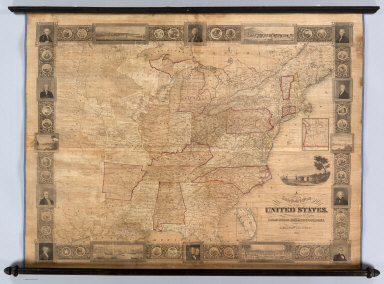 A New And Embellished Map of the United States Compiled From the Latest & Most Authentic Documents, By S. Bishop Munson. 1845. Published By Doolittle & Munson & Sherer, Cincinnati, O. Corner of Main & Fifth Sts., opposite the Dennison House. Engraved By Doolittle & Munson. Entered ... 1843, by S. Bishop Munson ... Ohio. (inset) South Part of Florida. (inset of Oregon).