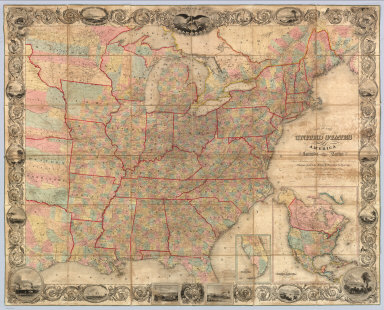 Map Of The United States Of America Including Canada and a large portion of Texas: Showing the Base Meridian and Township Lines of the U.S. Surveys. The lands allotted to the Indian Tribes west of the Mississippi. The Various Internal Improvements &c. Compiled from Surveys of the United States Land Office, and various other authentic sources By J. Calvin Smith. New York, Published by Sherman & Smith, 135 Broadway. 1850. Revised Edition. Steel Plates. Entered ... 1843 by Geo. E. Sherman & J. Calvin Smith ... New York. Engraved and Printed by Sherman & Smith New York. (inset) Map Of North America By J. Calvin Smith. (inset) Southern Florida.