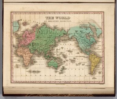 The World on Mercator's Projection. Young & Delleker Sc. Published by A. Finley Philada.