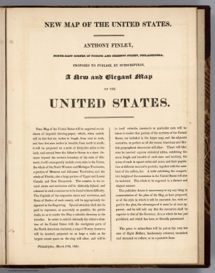 (Advertisment) New Map of the United States. Anthony Finley ... Proposes to Publish, by Subscription, A New and Elegant Map of the untied States.