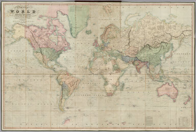 A New Chart of the World On Mercator's Projection With The Tracks Of The Most Celebrated & Recent Navigators. Engraved by John Dower, Pentonville. Published By Henry Teesdale & Co. 2, Brunswick Row, Queens Square, London 1844.