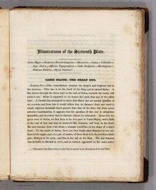 (Text Page) Illustrations of the Sixteenth Plate. Canis Major - the Great Dog.