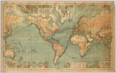 Chart Of The World On Mercator's Projection. Constructed By Hermann Berghaus. Gotha: Justus Perthes. I. Edition 1863, X. Edition 1882. Engraved by H. Eberhardt, E. Kuhn and W. Weiler. (with 32 inset maps).