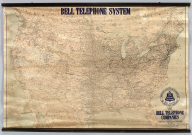 Lines Of The Bell Telephone Companies. United States And Canada. July 1, 1909 ... W.H.C. American Telephone & Telegraph Co. And Associated Companies. Local And Long Distance Telephone Bell System. Heliotype Co. Boston. Copyright 1910 By The American Telephone And Telegraph Company. (top of map) Bell Telephone System.