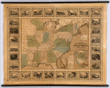 Alden's Pictorial Map Of The United States Of North America. Barre, Mass.: Published By Albert Alden. Entered ... 1845, By Albert Alden ... Massachusetts. Printed At George Coolidge's Steam Power Printing Establishment, No. 1 Water Street, Boston. (inset) Map Of North America. (inset) Southern Part of Florida. (inset) Northern Boundary Of Maine ...