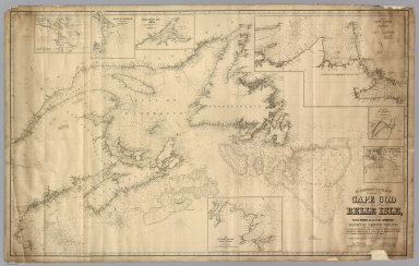 Eldridge's Chart From Cape Cod To Belle Isle, Including the Bay of Fundy, Gulf of St. Lawrence and Banks of Newfoundland ... From the latest surveys by the United States, Admiralty, French Marine & George Eldridge. 1866. Published by E.W. Carpenter. Geo. Eldridge, Hydrographer. Sold by S. Thaxter & Son. 125 State St. Boston. Entered ... 1864 ... Massachusetts. G.W. Boynton Sc. (with) seven insets listed in Notes.