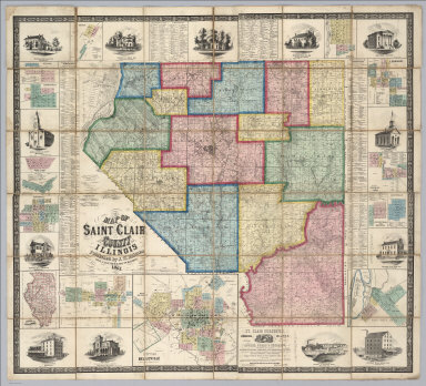 Map Of Saint Clair County, Illinois. Published by J.W. Holmes, Civil Engineer & Map Publisher, 1863. Field Surveys Conducted by R.S. Hodgen, C.E. & Surveyor. Manufactured by R. Pearsall Smith, 517, 519, 521 Minor St. Phila, Pa. Entered ... 1863 by Joseph W. Holmes ... Illinois. (with 15 inset maps).