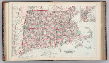 Gray's New Map of Massachusetts, Rhode Island, and Connecticut. By Frank A. Gray. (inset) Environs of Boston. Philadelphia: O.W. Gray & Son.