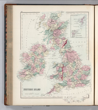 British Isles. (inset) The Orkney and Shetland Islands.