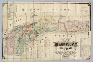 Map Of Nevada County, California. Compiled From The Latest Authentic Sources, Showing Towns, Villages, Roads, Streams, Mining Ditches, And U.S. Land Surveys, Quartz And Placer Mining Claims. By J.G. Hartwell, County Surveyor. 1880. Entered ... 1880, by J.G. Hartwell ... Washington, D.C. Lith. W.T. Galloway, 540 Clay St. S.F.
