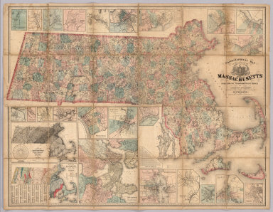 Topographical Map Of The State Of Massachusetts Based On The Trigonometrical Survey By Simeon Borden, The details from Actual Surveys under the direction of H.F. Walling. Published by H. & C.T. Smith & Co. No. 358 Pearl St. N.Y. Entered ... 1861 by the Commonwealth of Massachusetts ... Massachusetts. (with 25 inset maps).