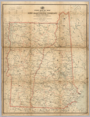 """Post Route Map Of The States Of New Hampshire, Vermont Showing Post Offices With The Intermediate Distances On Mail Routes In Operation On The 1st Of March, 1912. Published By Order Of Postmaster General Frank H. Hitchcock Under The Direction Of A. von Haake, Topographer P.O. Dept. (seal) Post Office Department. United States Of America. """"With Celerity, Certainty And Security""""."""