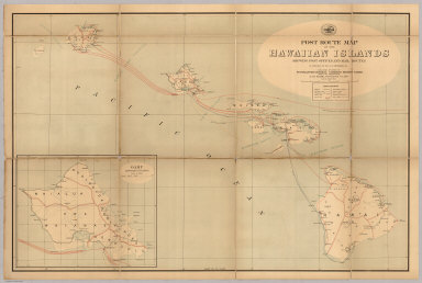 """Post Route Map Of The Hawaiian Islands Showing Post Offices And Mail Routes In Operation On The 1st Of September, 1901. Published By Order Of Postmaster General Charles Emory Smith Under The Direction Of A. von Haake, Topographer P.O. Dept. (seal) Post Office Department. United States Of America. """"With Celerity, Certainty And Security"""". (inset) Oahu Hawaiian Islands."""