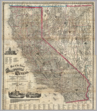 Map of the States of California And Nevada. Carefully Compiled from the Latest Authentic Sources. California By Julius H. Von Schmidt, Arthur W. Keddie, And C.D. Gibbes, C.E.'s. Nevada By Chas. Drayton Gibbes C.E. Comprising Information obtained from the U.S. Coast And Land Surveys, State Geological Surveys, By Prof. J.D. Whitney, Railroad Surveys And The Results Of Explorations Made By Brevet Lieut. Col. R.S. Williamson, U.S.A., Henry DeGroot, C.D. Gibbes, And Others. Published by Warren Holt. No. 717 Montgomery St. San Francisco, Cal. 1881. Entered ... 1876 by Warren Holt ... Washington, D.C. S.B. Linton, Engr. & Lithogr. 148-1/2 S. 4th Street, Philadelphia ...