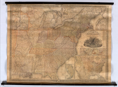 Mitchell's Reference & Distance Map Of The United States. By J.H. Young. Published By S. Augustus Mitchell. Philadelphia: For Sale By Mitchell & Hinman, No. 6 North Fifth Street, 1834. Engraved by J.H. Young, F. Dankworth, E. Yeager & E. F. Woodward. Entered ... 1833 by S. Augustus Mitchell ... Pennsylvania ... (illustration) Designed by W. Mason. (inset) A General Map Of The United States with the contiguous British & Mexican Possessions. (with 12 additional inset maps).