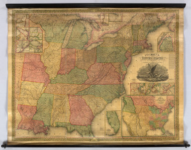 A New Map of the United States. By J.H. Young. Published By S. Augustus Mitchell. Philadelphia: For Sale By Mitchell & Hinman. No. 6 North Fifth Street, 1834. Engraved by J.H. Young, F. Dankworth, E. Yeager, & E.F. Woodward. Entered ... 1833 by S. Augustus Mitchell ... Pennsylvania. (title illustration) Designed by W. Mason. (inset) A General Map Of The United States with the contiguous British & Mexican Possessions. (with 12 additional inset maps).