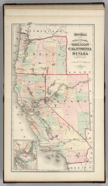 Gray's Atlas New Railroad and County Map of the States of Oregon, California, and Nevada Compiled and Drawn by Frank A. Gray. Published by O.W. Gray, Philadelphia. (inset) Enlarged Plan of the Vicinity of San Francisco and Sacramento.