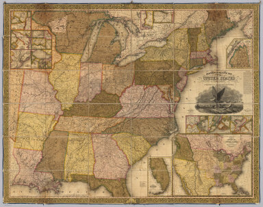 Reference & Distance Map Of The United States By J.H. Young. Published By S. Augustus Mitchell. Philadelphia For Sale By Mitchell & Hinman, No. 6 North Fifth Street 1834. Engraved by J.H. Young, F. Dankworth, E. Yeager & E. F. Woodward. Entered ... 1833 by S. Augustus Mitchell ... Pennsylvania ... (illustration) Designed by W. Mason. (inset) A General Map Of The United States with the contiguous British & Mexican Possessions. (with 12 additional inset maps).