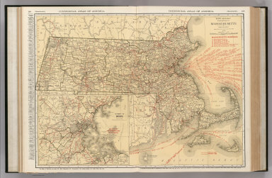 Commercial Atlas of America. Rand McNally Standard Map of Massachusetts. (with) Environs of Boston.