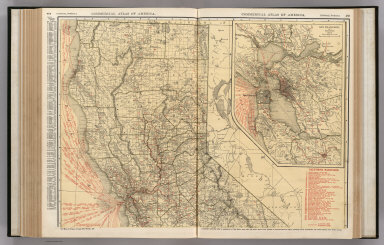 Commercial Atlas of America. Rand McNally Standard Map of California (Northern Section). (with) San Francisco and Vicinity.