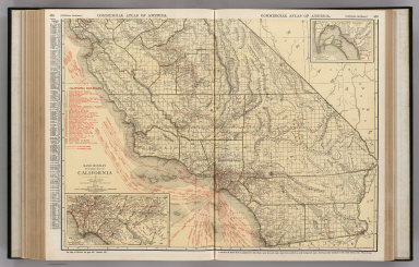 Commercial Atlas of America. Rand McNally Standard Map of California (Southern Section). (with) Los Angeles and Vicinity. (with) San Diego and Vicinity.