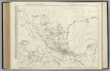 Commercial Atlas of America. Rand McNally Black and White Mileage Map, Mexico. (with) Mexico City and Vicinity.