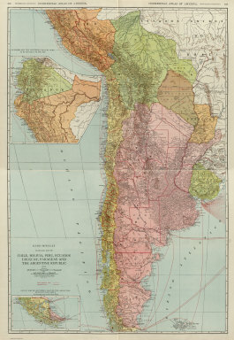 (Composite of) Commercial Atlas of America. Rand McNally Standard Map of Chile, Bolivia, Peru, Ecuador, Uruguay, Paraguay, and the Argentine Republic (southern part). (with) Detail Map of Southern Part of the Argentine Republic and Chile.