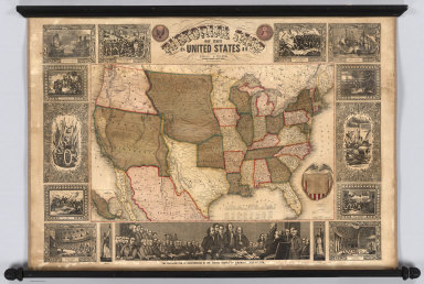 Pictorial Map Of The United States. 1849. Published by Ensign & Thayer, 50 Ann Street, New York. Drawn & Engraved by J.M. Atwood, New York. Entered ... 1847 by Phelps, Ensign's & Thayer ... New York.