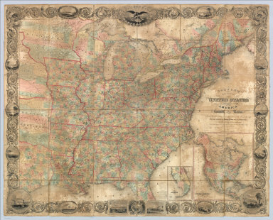 Colton's Map Of The United States Of America Including Canada and a large portion of Texas: Showing the Base Meridian and Township Lines of the U.S. Surveys. The lands allotted to the Indian Tribes west of the Mississippi. The Various Internal Improvements &c. Compiled from Surveys of the United States Land Office, and various other authentic sources By J. Calvin Smith. New York, Published by J.H. Colton, 86 Cedar St. 1852. Revised Edition. Steel Plates. Entered ... 1843 by Geo. E. Sherman & J. Calvin Smith ... New York. Engraved and Printed by Sherman & Smith New York. (inset) Map Of North America By J. Calvin Smith. (inset) Southern Florida.