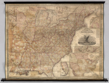 Mitchell's Reference & Distance Map Of The United States. By J.H. Young. Published By S. Augustus Mitchell. Philadelphia: For Sale By S. Augustus Mitchell, No. 8-1/2 South Seventh Street. 1845. Engraved by J.H. Young, F. Dankworth, E. Yeager & E. F. Woodward. Entered ... 1845 by S. Augustus Mitchell ... Pennsylvania. (illustration) Designed by W. Mason. (inset) A General Map Of The United States with the contiguous British & Mexican Possessions. (with 10 additional inset maps).