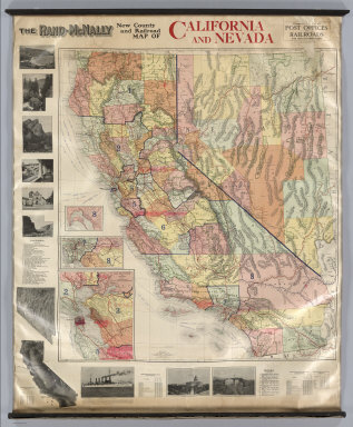 The Rand-McNally New County and Railroad Map Of California And Nevada. Copyright, 1912, Rand, McNally & Co. Chicago ... (with 5 inset maps).