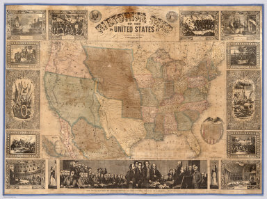 Pictorial Map Of The United States. 1847. Published By Ensigns & Thayer, 36 Ann Street, New York. Drawn & Engraved by J.M. Atwood, New York. Entered ... 1847, by Phelps, Ensign's & Thayer ... New York. Printed by Miller & Boyle, No. 102 Broadway, N.Y. (inset) Map Of Mexico.