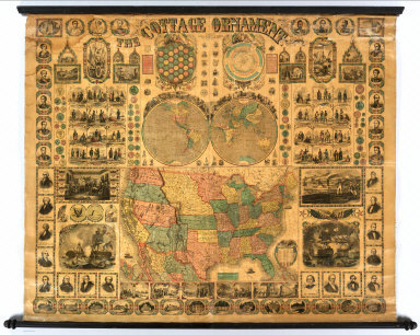 The Cottage Ornament Published By Ensign, Bridgman & Fanning, 156 William St., New York. (with) Double hemisphere map of the World (with) untitled map of the United States with inset map of Mexico.