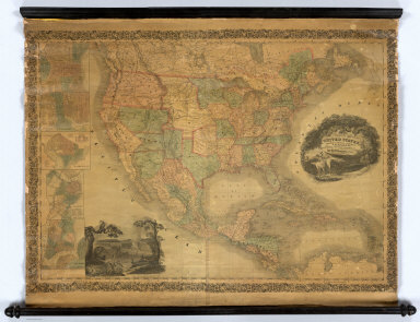 A map of the United States, Mexico, Central America, California, Oregon, New Mexico, W. Indies &c. With the boundaries, of the several states, railroads, canals &c. by H.S. Tanner, No. 201 Broadway, New York. 1851.