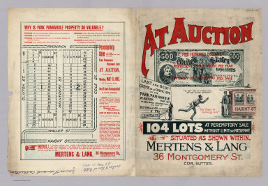 (Text Page) At Auction, 104 Lots at Peremptory Sale Without Limit or Reserve Situated as Shown Within. Mertens & Land, 36 Montgomery St., Cor. Sutter.