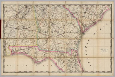 Rand, McNally & Co.'s New Shippers' Railroad Map of the United States. Scale: 8 miles to one inch. Showing all railroads, each in a separate color, and all railroad stations in large, plain type. This is the Savannah section, only, of the above-named map. (Above the neatline) Copyright, 1890 by Rand, McNally & Co.